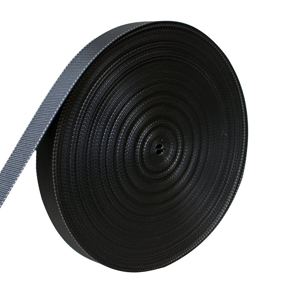 AMP 5000lbs Rated Heavy Duty Mil Spec Military Grade Nylon Fastening Webbing Strap 1.75'' Wide 50 Yards Black/White