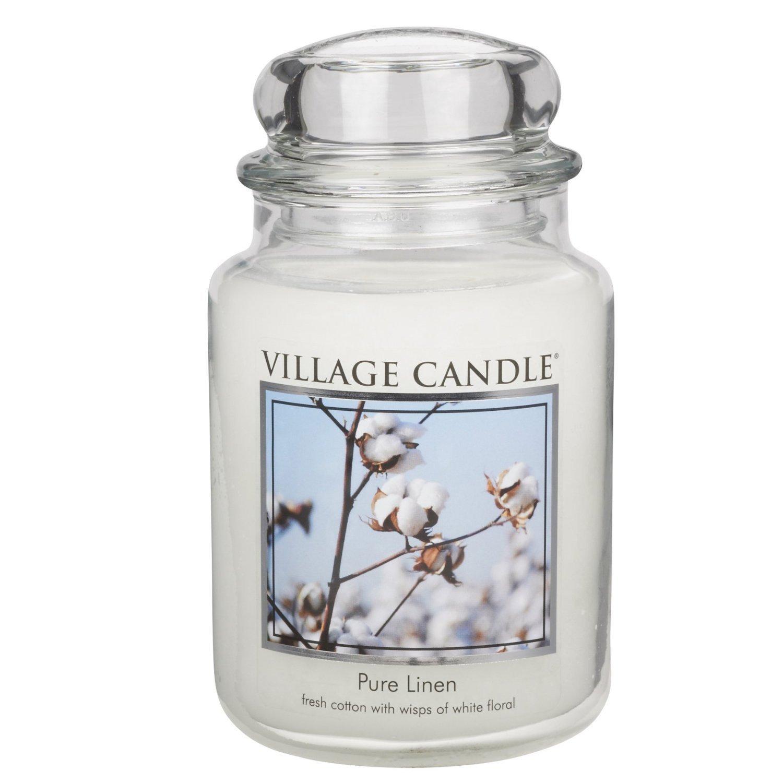 Village Candle - Candela profumata in barattatolo grande, 17 x 10 cm, 1219 g, profumazione Puro lino, fino a 170 ore di consumo 106326339