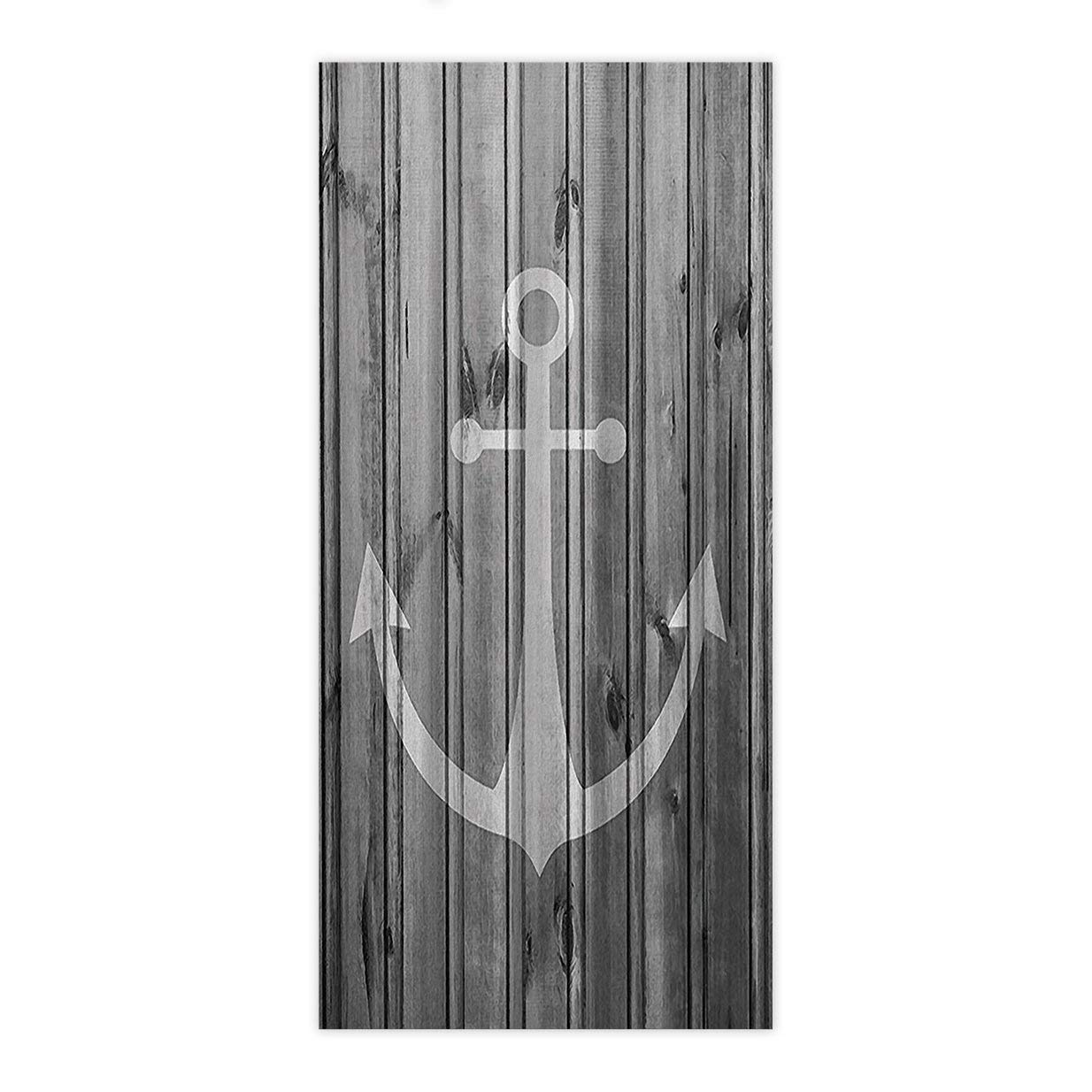 Yaoni Vintage White Nautical Anchor on Gray Wood Print,Beach Towel Bath Towel Bathroom Shower Towel Bath Wrap for Body,Gym,Spa,Home,Hotel Use