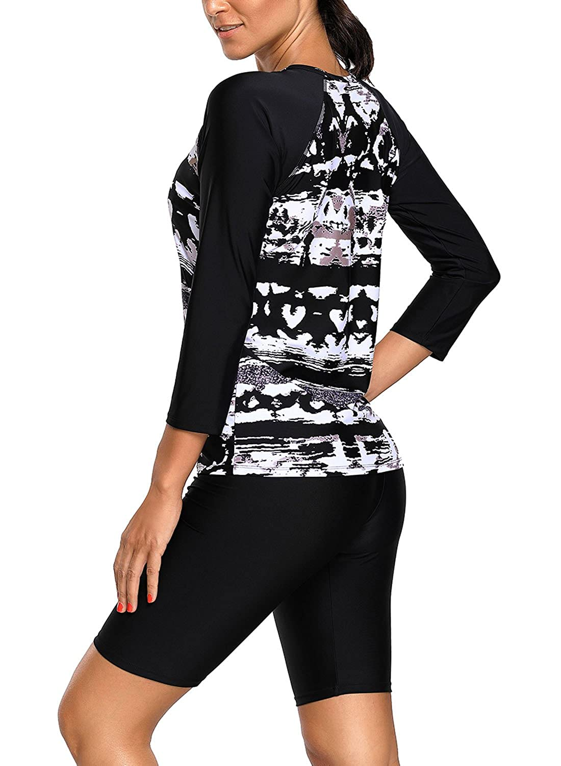 S-XXL EVALESS Womens Black Monochrome Abstract Print Long Sleeve Top and Cropped Pants Rashguard Swimsuit