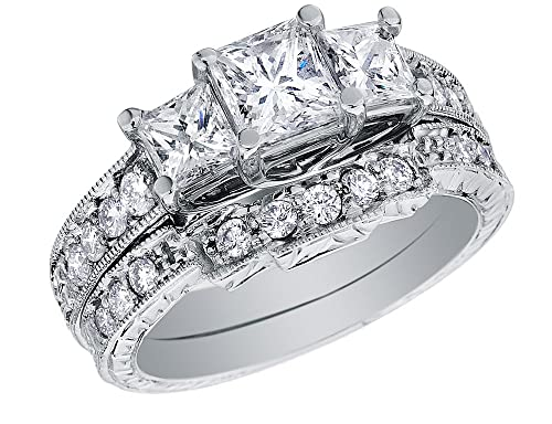 faa0e8d33f3d3e Princess Cut Three Stone Diamond Engagement Ring & Wedding Band Set 1.6  Carat (ctw) in 14K White Gold: Amazon.ca: Jewelry
