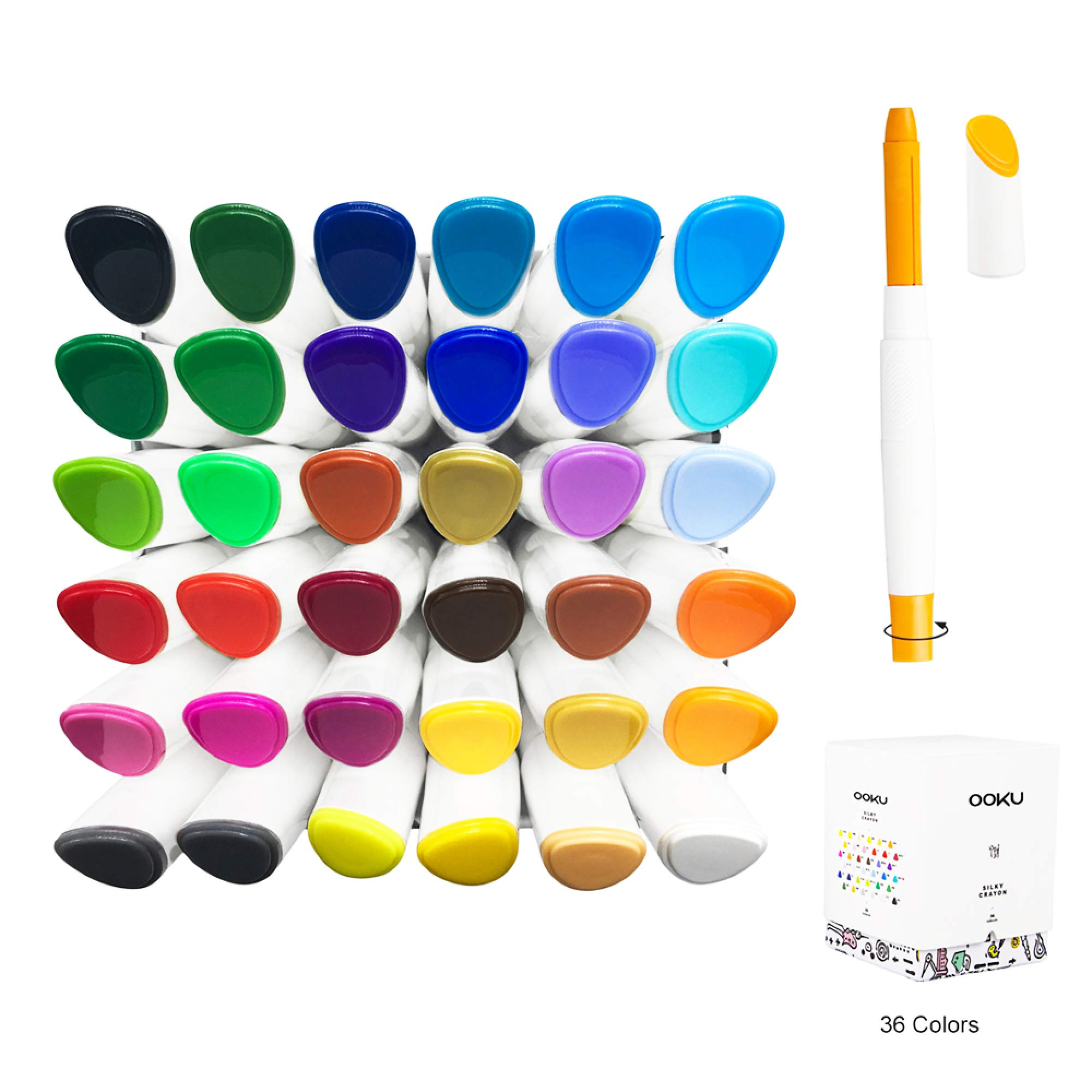 OOKU Gel Crayons 36 Colors Set - Twistable, Retractable & Washable Crayons - Non Toxic Art Supplies for Adults/Kids/Toddlers - 3 in 1 Crayon, Pastels, Watercolors Effect