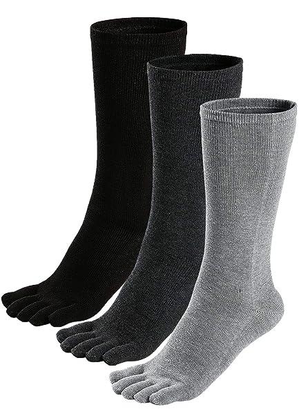 PUTUO Calcetines con Cinco Dedos Hombres Calcetines de Deportes de Algodón, EU39-45, 3/5 pares: Amazon.es: Ropa y accesorios