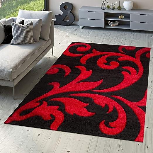 Tapis De Designer Tapis De Salon Levante Moderne Motif Floral Rouge Noir,  Dimension:160x230 cm