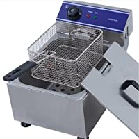 TaiMei Electric Fryer Deep Fryer Stainless Steel Chip Fryer Double Fat Tank 10L 3000W with Lid