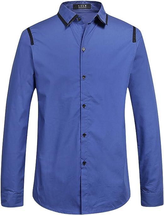 SSLR Camisa Vestir para Hombre Manga Larga Slim Fit de Algodón (XX-Large, Azul): Amazon.es: Ropa y accesorios