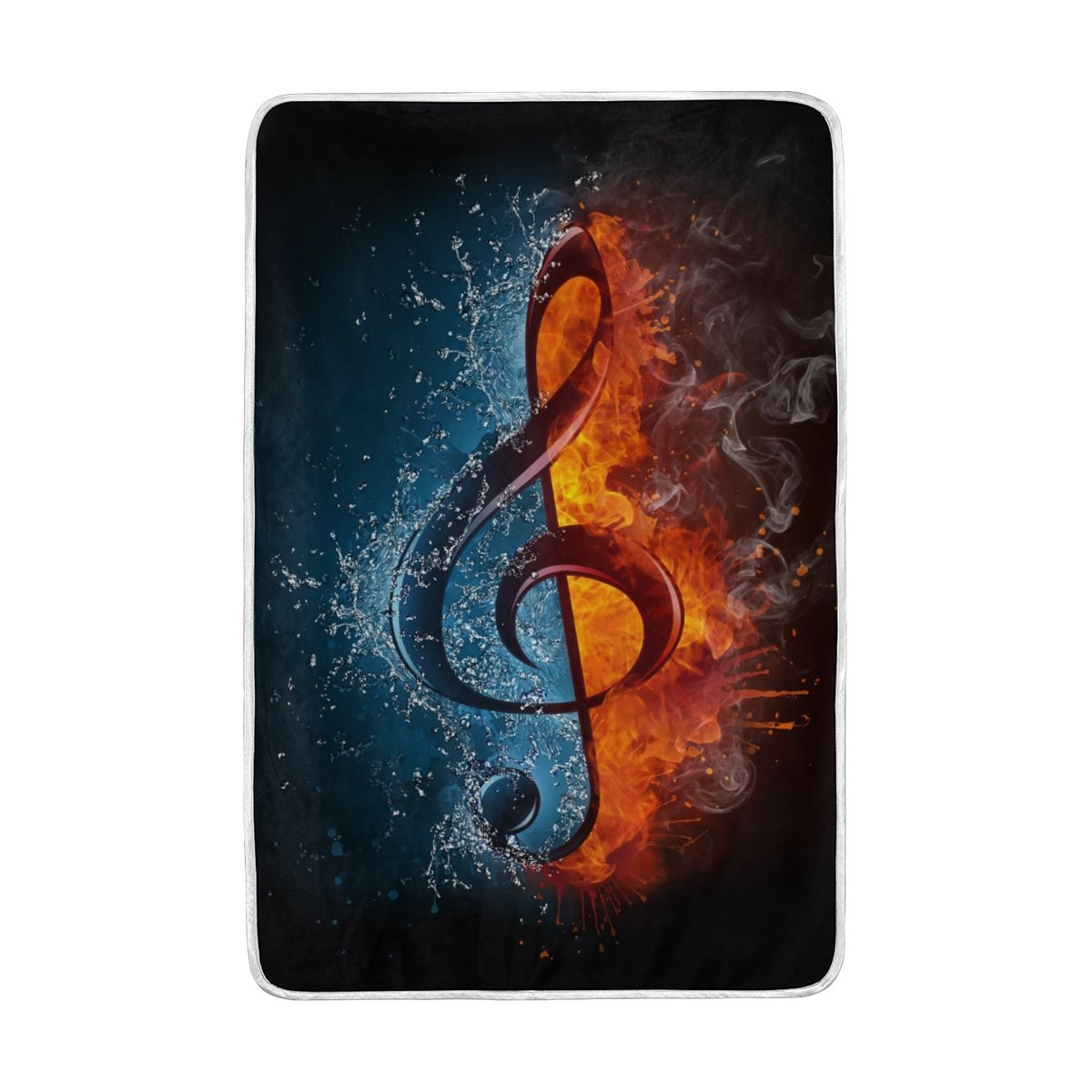 Vantaso Soft Blankets Throw Music Note Water and Fire Microfiber Polyester Blankets for Bedroom Sofa Couch Living Room for Kids Children Girls Boys 60 x 90 inch