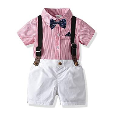550258fd50825 Baby Boys Gentleman Outfits Suits, Infant Short Sleeve Shirt+Bib Pants+Bow  Tie
