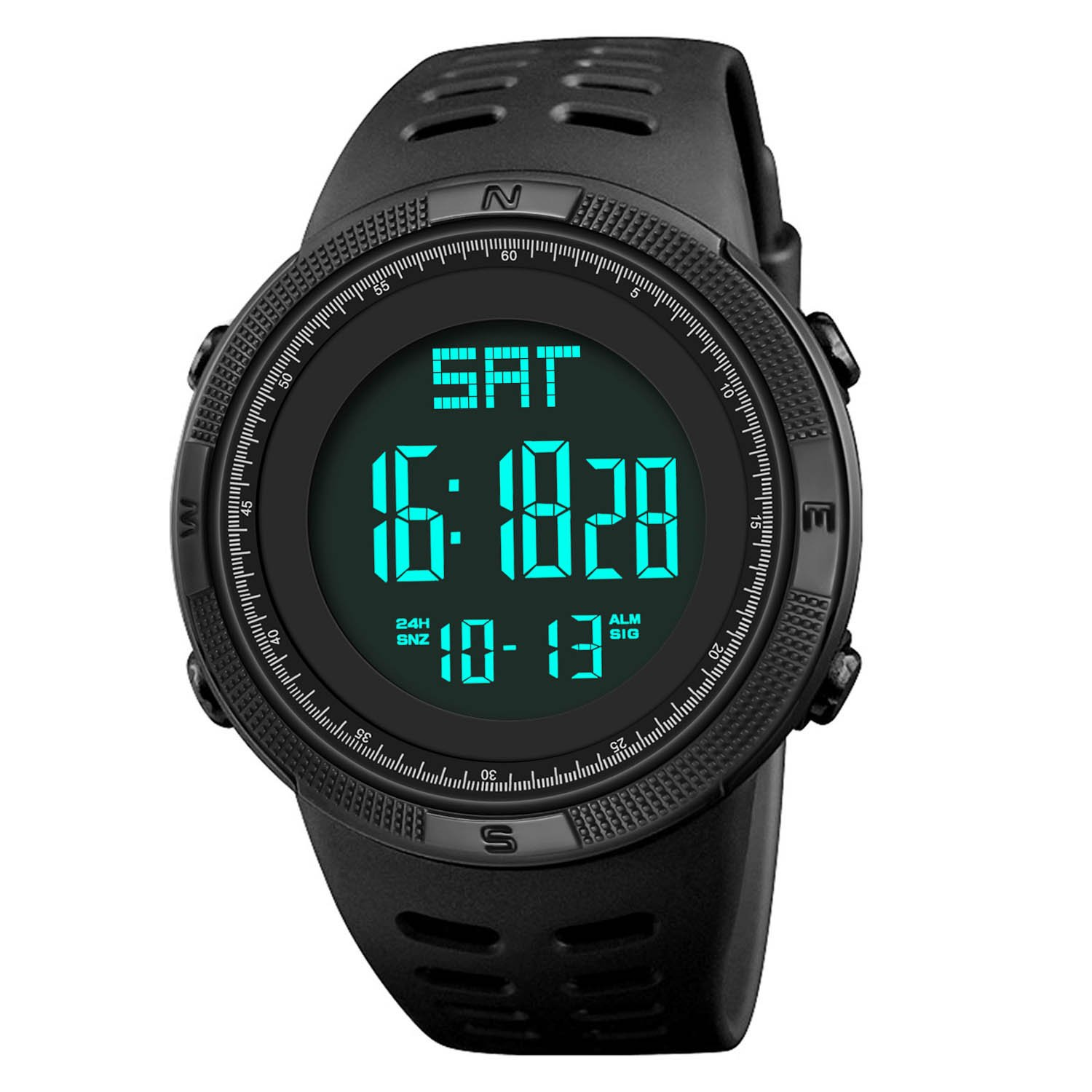 Men Digital Sports Watch, Military Multifunction Outdoor Electronic Waterproof Wrist Watch Fashion Resistant Casual Watchs with Luminous Calendar Backlight Stopwatch LED Screen - Black