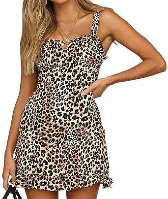 8012c95684cf Amazon.com: Leopard Mini Dresses for Women Party Club Night Sleeveless Spaghetti  Strap V Neck Ruffle Party Mini Dress: Clothing