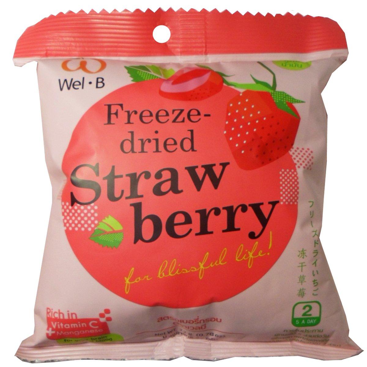 Freeze Dried Strawberry Healthy Fruit Snack Wel-B Brand Net Wt 22g (0.78oz) x 5 bags