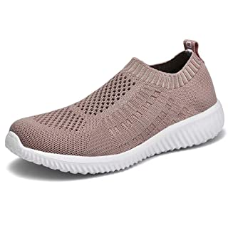 konhill Women's Casual Walking Shoes - Breathable Mesh Work Slip-on Sneakers 11 US Apricot,43
