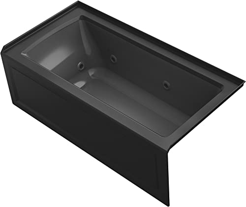 KOHLER K-1947-RA-7 Archer 60 x 30 Alcove Whirlpool with Integral Apron, Tile Flange and Right-Hand Drain, Black