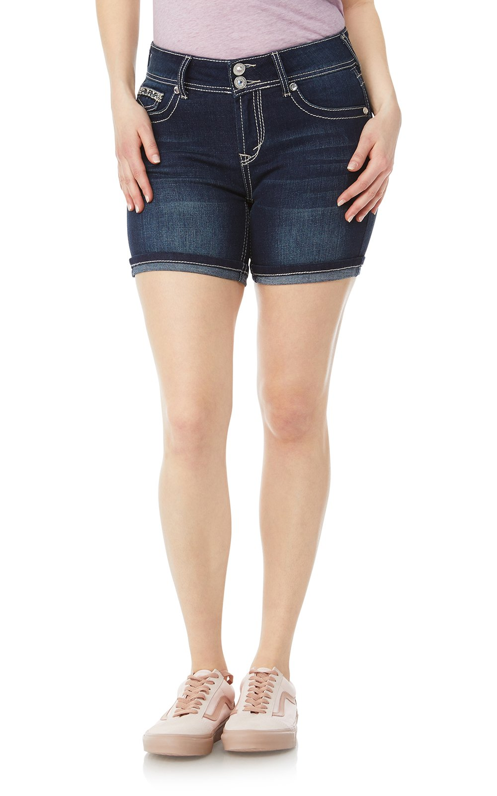WallFlower Women's Juniors Luscious Curvy Embellished Midthigh Shorts in Betsy, 13