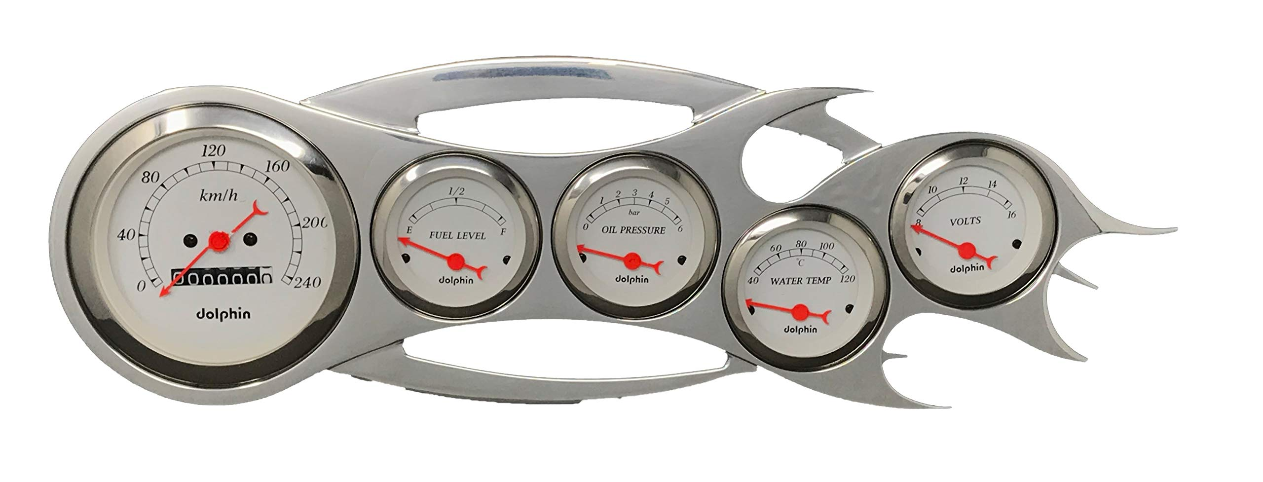 Dolphin Gauges Universal - 5 Gauge Dash Cluster Panel - Metric - Mechanical - White by Dolphin Gauges