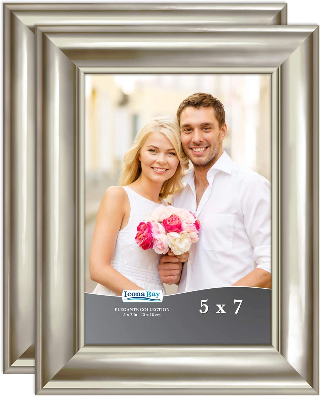 Icona Bay 5x7 Picture Frames (Champagne, 2 Pack), Contemporary Photo Frames 5 x 7, Wall Mount or Table Top, Elegante Collection