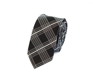 Corbata de Fabio Farini rayado en negro a cuadros blancos: Amazon ...