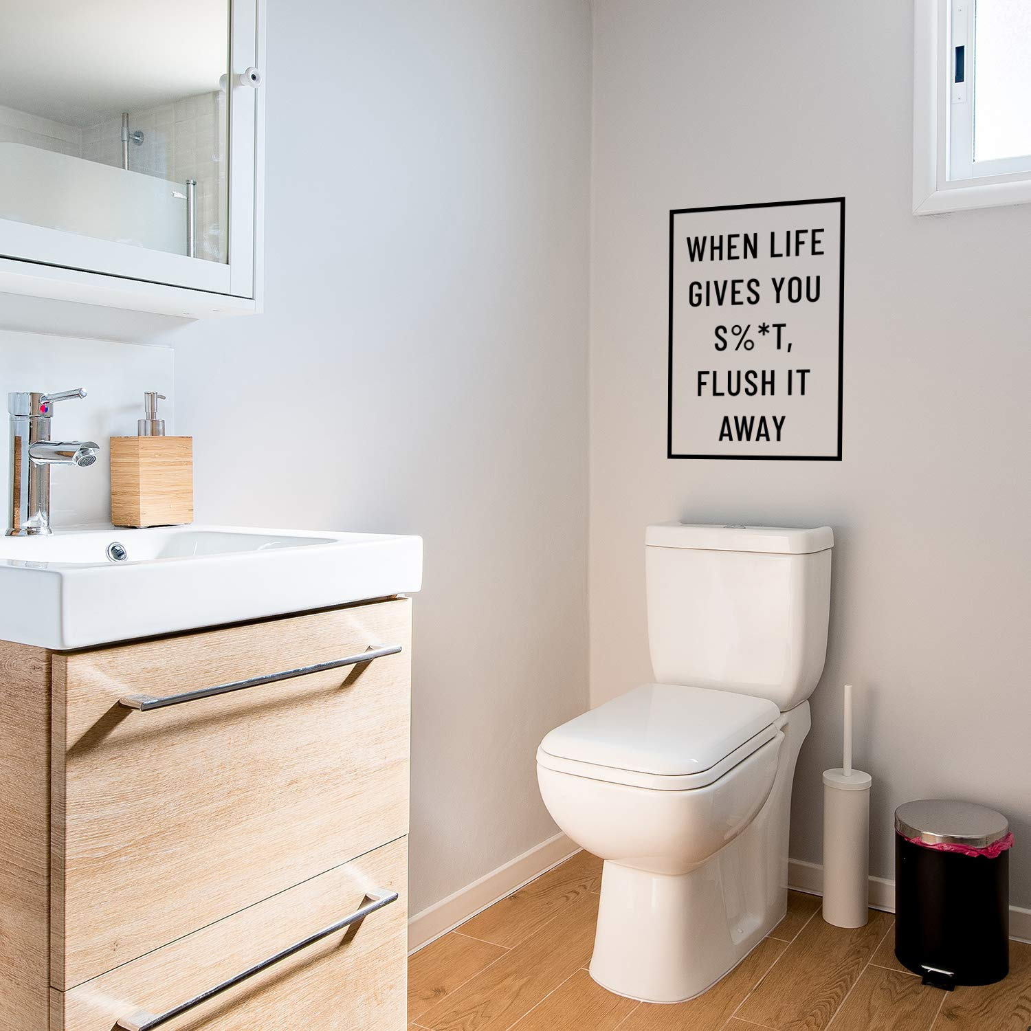 Modern Sarcastic Household Apartment Adhesive Pulse Vinyl When Life Gives You Sh!t Flush It Away Vinyl Wall Art Decal Witty Adult Humor Home Living Room Bedroom Bathroom Sticker Decoration 23 x 16