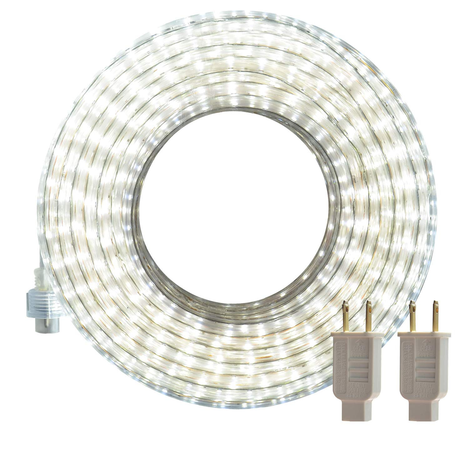 LED Rope Lights, 50ft Flat Flexible Light Strip, 6000K Daylight White, Water Resistant for Both Indoor/Outdoor Use, Inter-Connectable, UL Certified, Decorative Lighting for Any Location DW by SURNIE