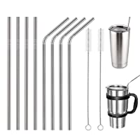 Reusable Stainless Steel Straws,Set of 10 Extra Long 10.5'' Metal Drinking Straws with 2 Brushes and Carry Bag,FDA-Approved Environment-Friendly Straws for 20/30oz Tumblers Cold Beverage