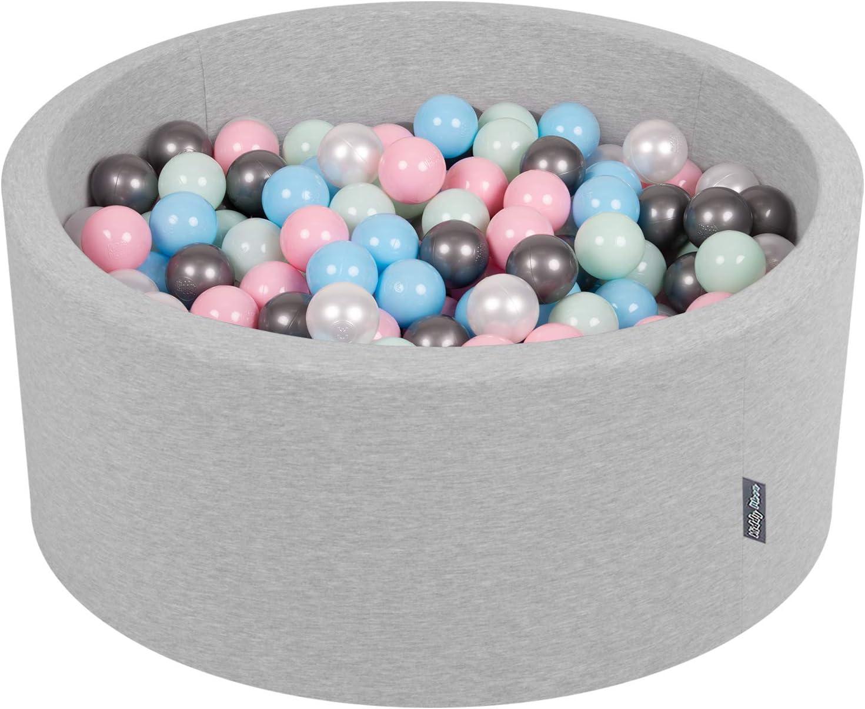 KiddyMoon 90X40cm/300 Bolas ∅ 7Cm Piscina De Bolas para Ninos Hecha En La UE, Gris Clr:Perla/Rosa Claro/Azulclr/Menta/Plata
