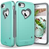 "iPhone 8 Case, iPhone 7 Case, Vena [vLove][Heart-Shape | Dual Layer Protection] Hybrid Bumper Cover for Apple iPhone 8, iPhone 7 (4.7""-inch) (Teal/Gray)"