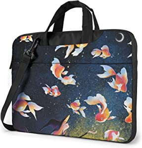 LPSIISA Witch and Goldfish Laptop Sleeve Case 14 Inch Computer Tote Bag Shoulder Messenger Briefcase for Business Travel