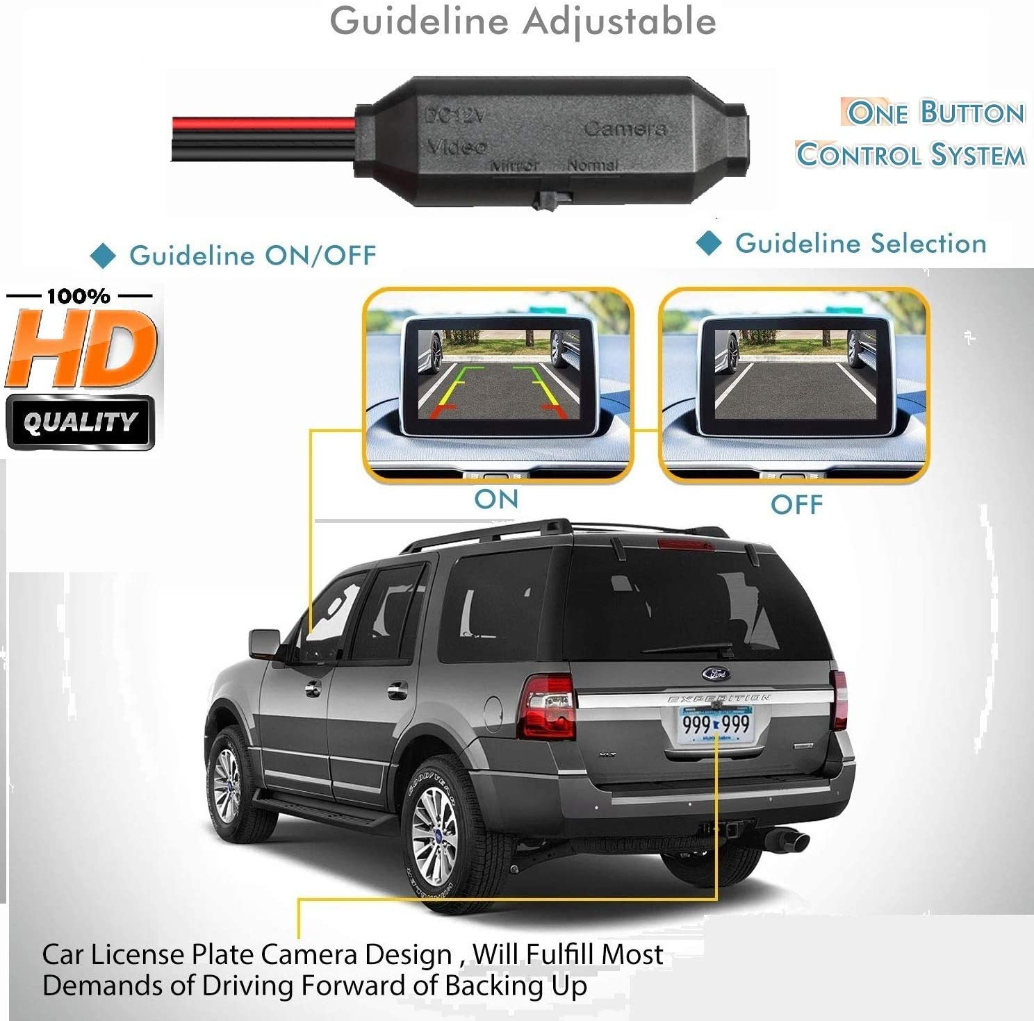 HD 1280x720p Reversing Camera in Number Plate Light License Rear View Backup Camera Waterproof Night Vision for Nissan Kicks Sunny//Qashqai//X-Trail//Geniss//Dualis//Navara//Juke