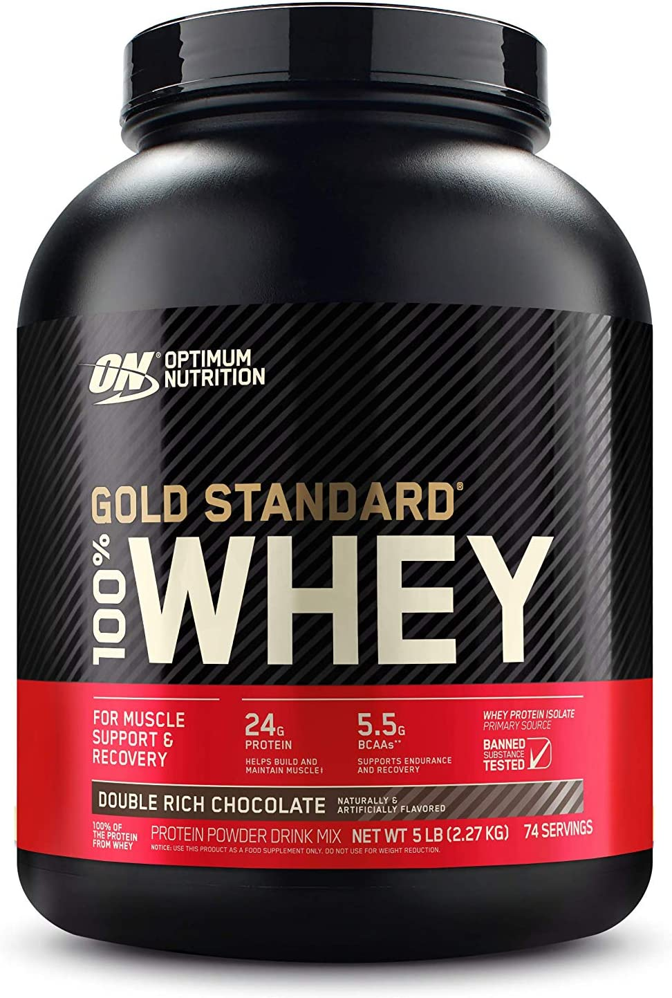 OPTIMUM NUTRITION GOLD STANDARD 100% Whey Protein Powder, Double Rich Chocolate 5 Pound
