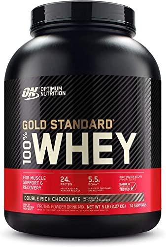 Optimum Nutrition Gold Standard 100 Whey Protein Powder, Double Rich Chocolate, 5 Pound Packaging May Vary