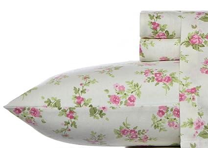 Laura Ashley Flannel Sheet Set, Audrey Pink, Queen
