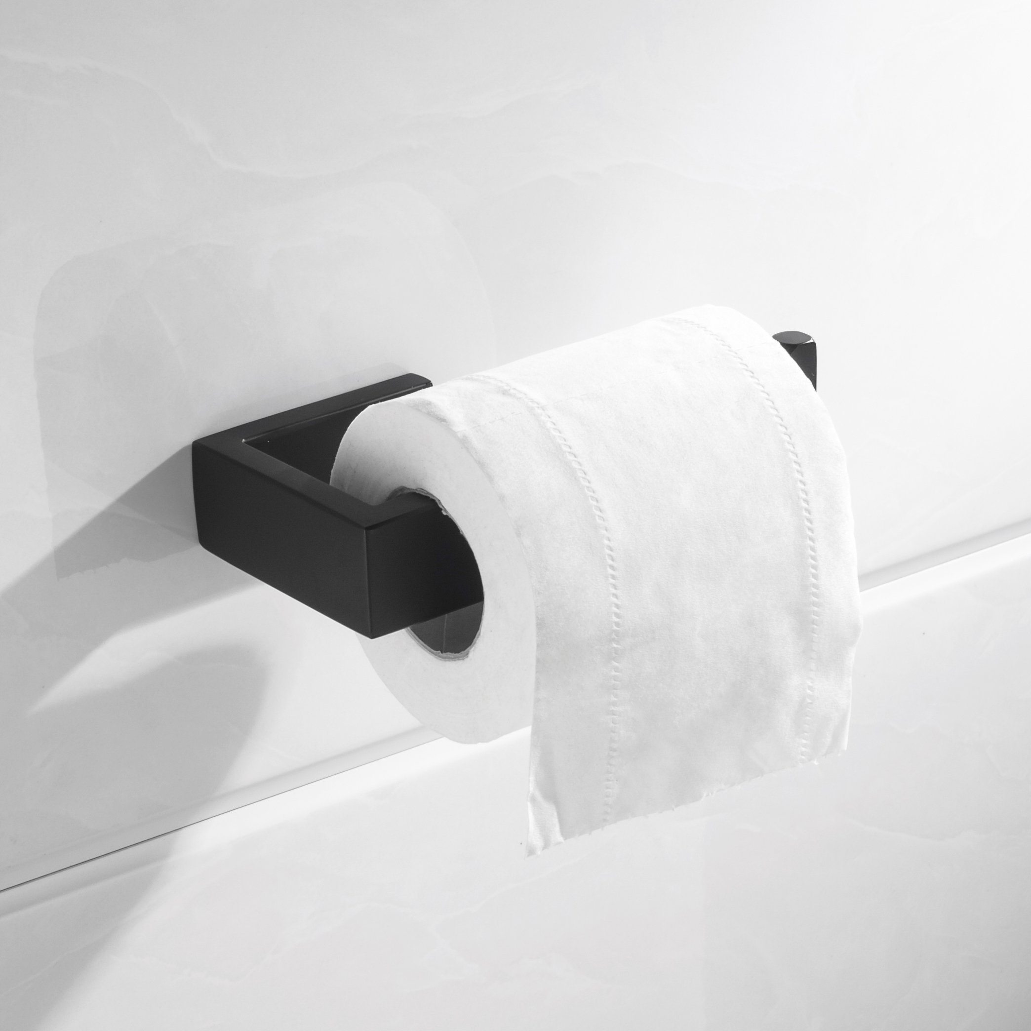 Nolimas Toilet Paper Roll Holder Matte Black SUS304 Stainless Steel Bathroom Lavatory Rust Proof Toilet Tissue Holder Wall Mount