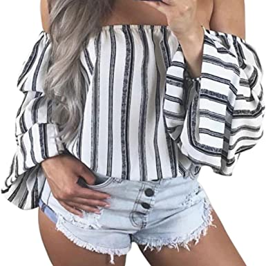 8b0aedb8675 VEMOW 2018 Spring Summer Tops for Women Ladies Girls UK Daily Cute Party  Beach White Off-Shoulder Lantern Sleeve Loose Shirt Casual Stripe Blouse T- Shirts ...