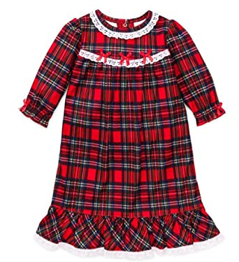 little me girls christmas pajamas toddler red plaid nightgown 2t - Christmas Pjs Toddler