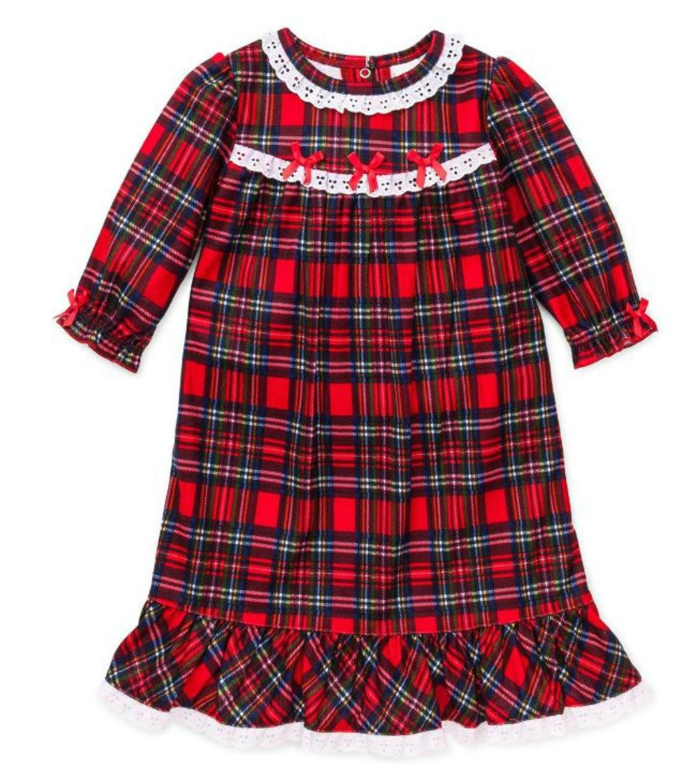 Little Me Girls Christmas Pajamas - Toddler Red Plaid Nightgown (4T)