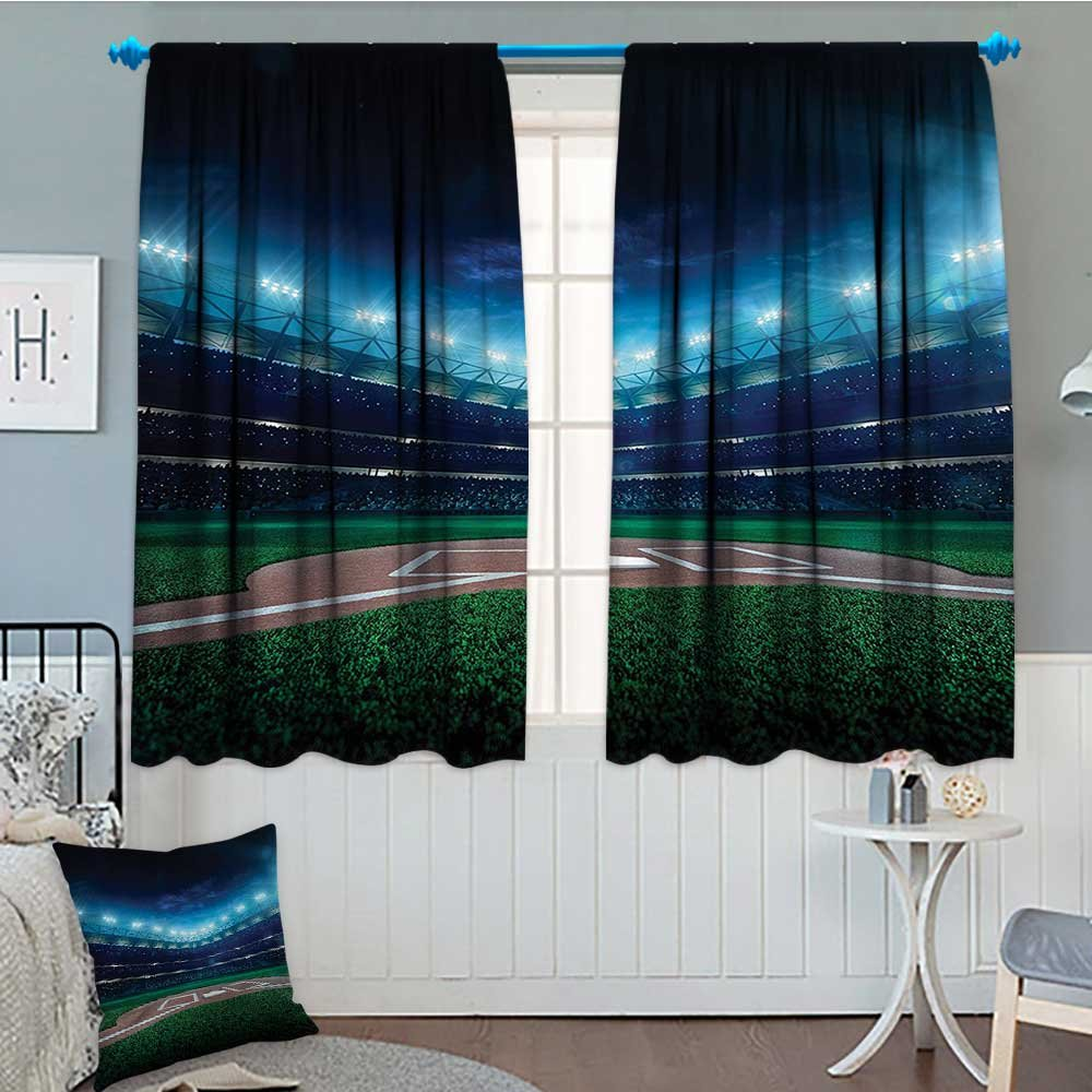 "Sports Decor Blackout Window Curtain Professional Baseball Field at Night with Spotlights Playground Stadium League Theme Customized Curtains 52""x63"" Green Blue"