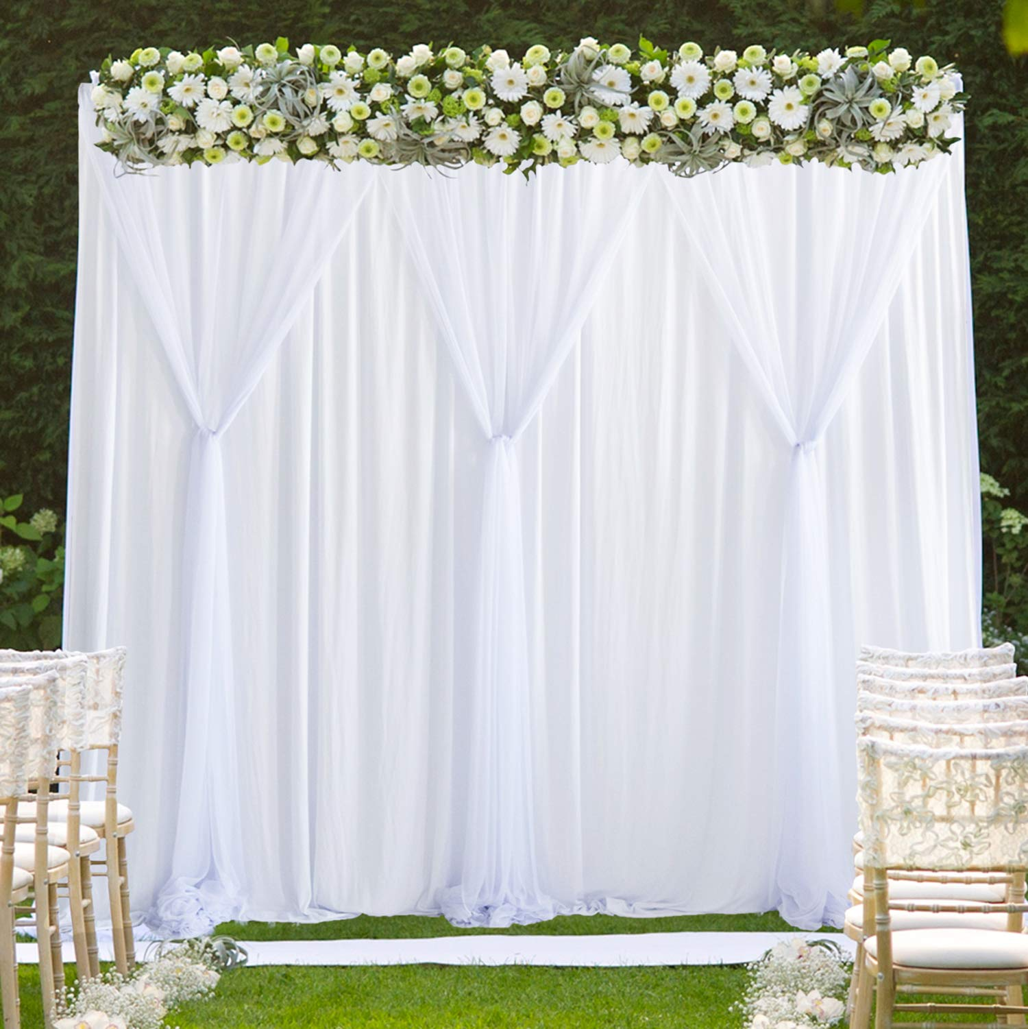 White Tulle Backdrop Curtains Photo Backdrop for Weddings Birthday Parties Baby Shower Photography Drape Backdrop Stage Curtain 10 ft X 7 ft