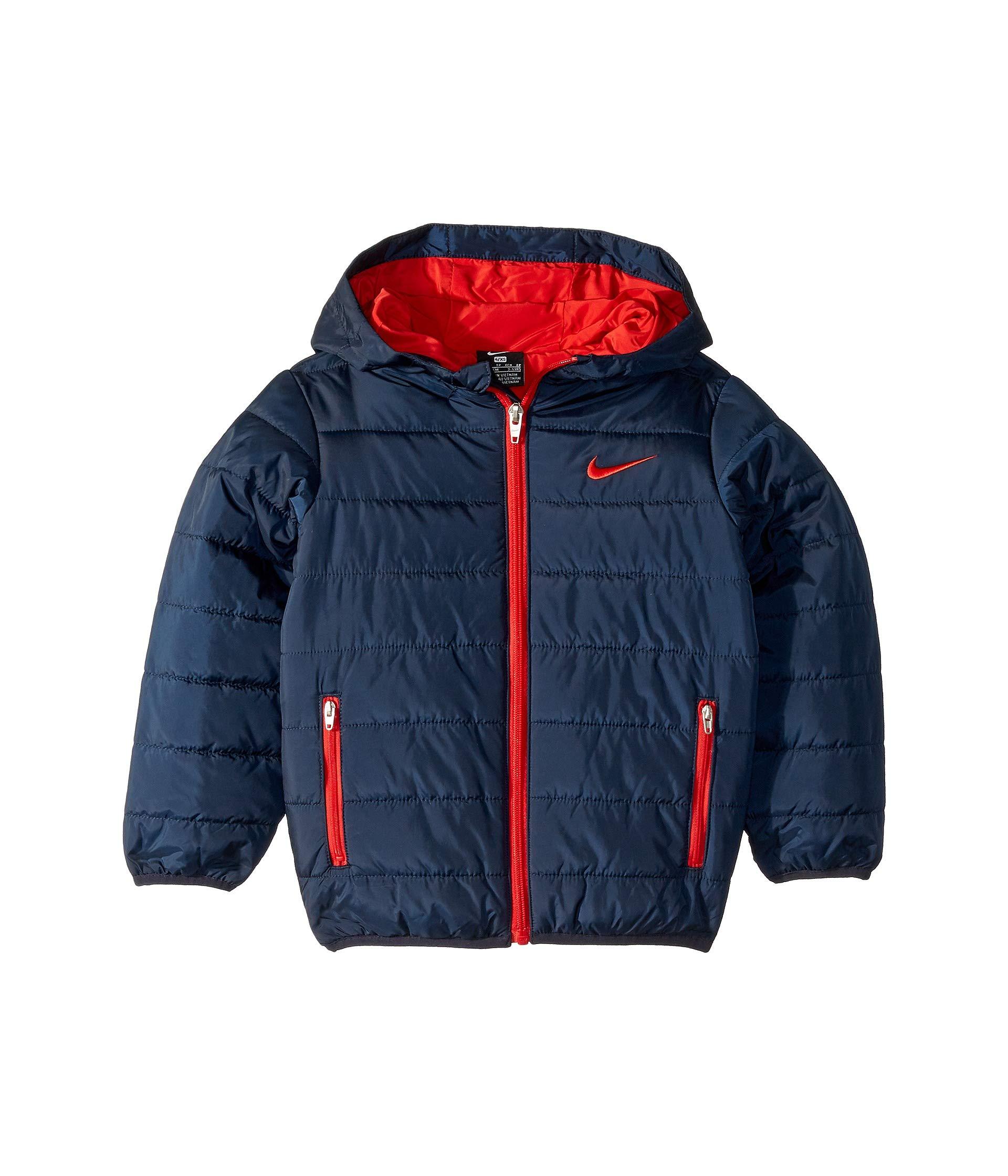 Nike Kids Boy's Quilted Jacket (Little Kids) Obsidian/University Red 6