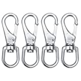 SHONAN Stainless Steel Swivel Eye Snap Hook- 4-Pack (1#, 3-1/2 inch) Flag Pole Clips, Scuba Diving Clips Spring Hooks for Dog leashes, Keychains, Boat Anchor Ropes, Bird Feeders, Pet Chains
