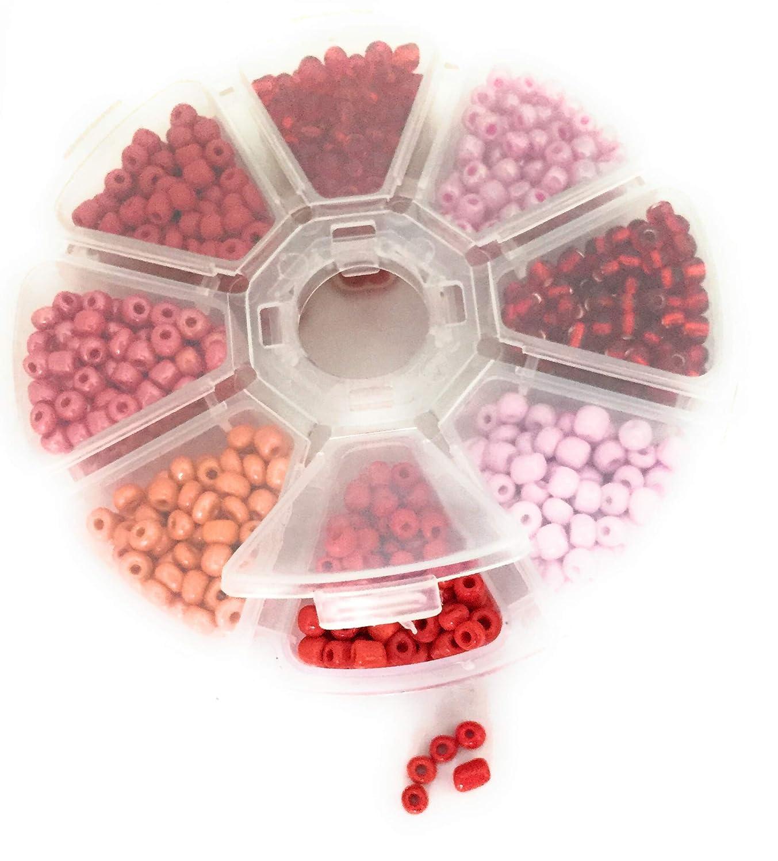Scatola di plastica con 4mm rosso della Rosa e Perle di Vetro der DIY Express GmbH