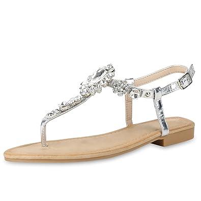 SCARPE VITA Damen Sandalen Zehentrenner mit Blockabsatz Strass Zierperlen