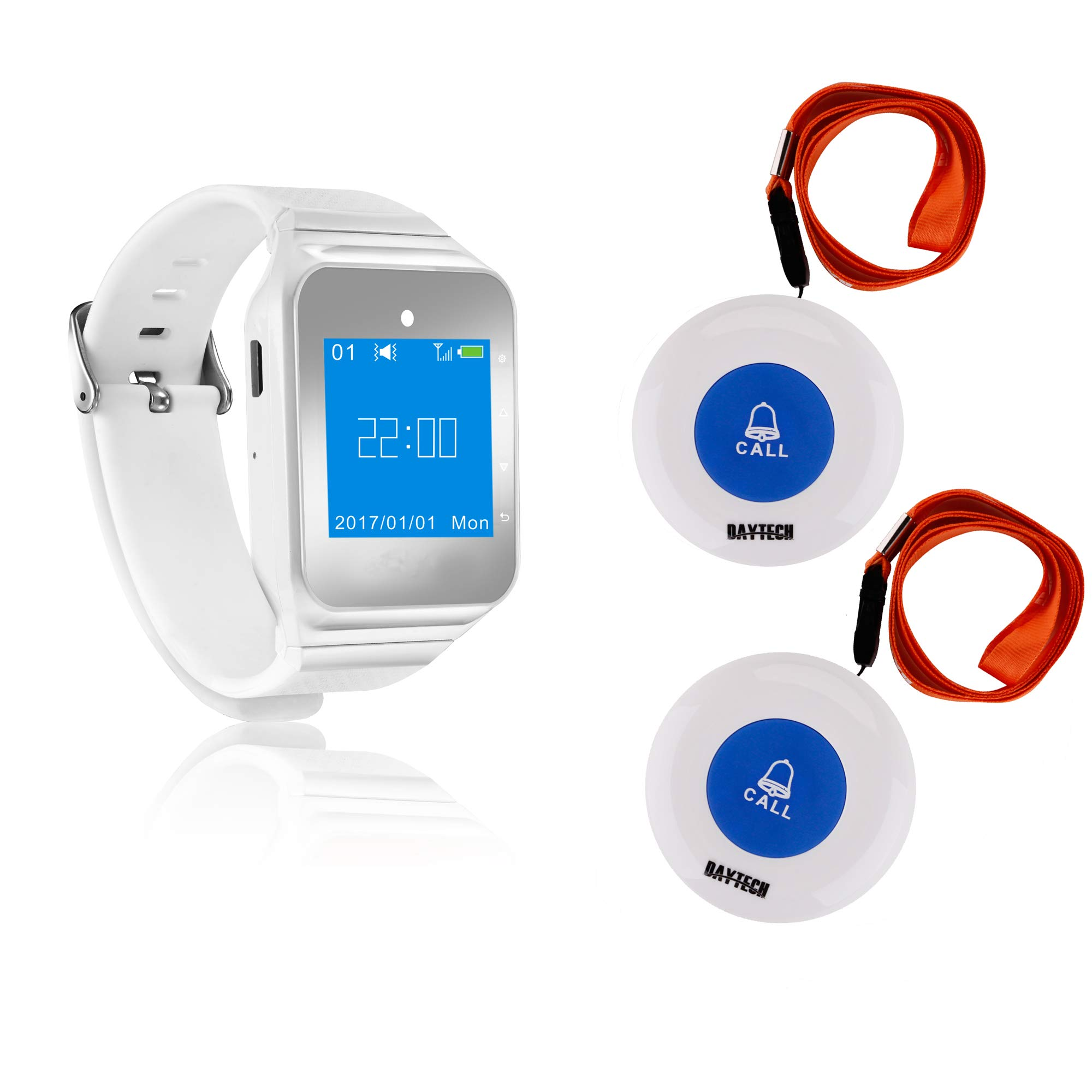 Wireless Caregiver Pager Vibration Softly Sound Alert System Nurse Call Help Buttons for Elderly Patient Disable at Home (1 Watch +2 Buttons)