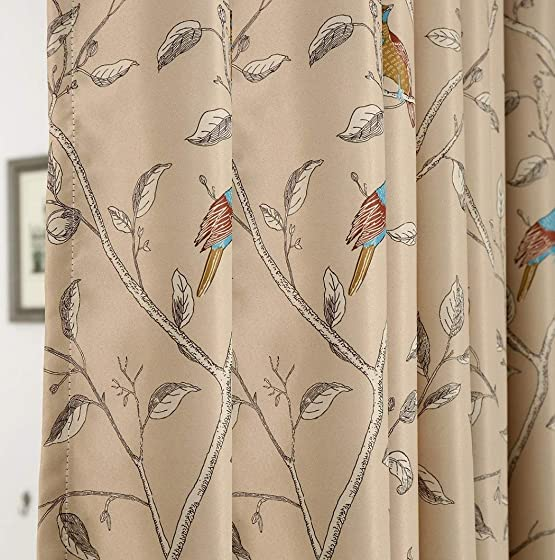 Birds Curtain Thermal Insulated Blackout Cloth Fabric Window Treatment