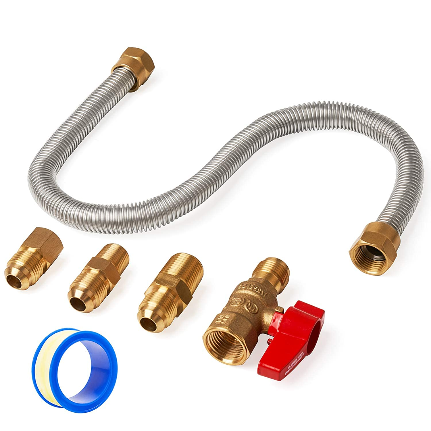 GASPRO One Stop Gas Appliance Hook Up Kit - Brass Gas Ball Valve and Flexible Gas Connector w/Fittings