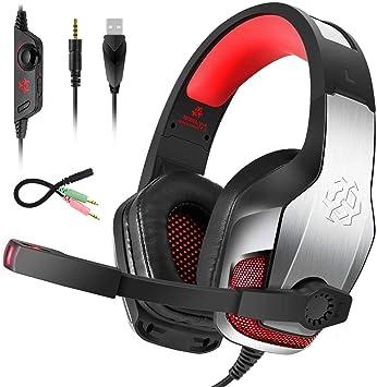 Bovon Cascos Gaming para PS4 Xbox One, Cascos con Microfono ...