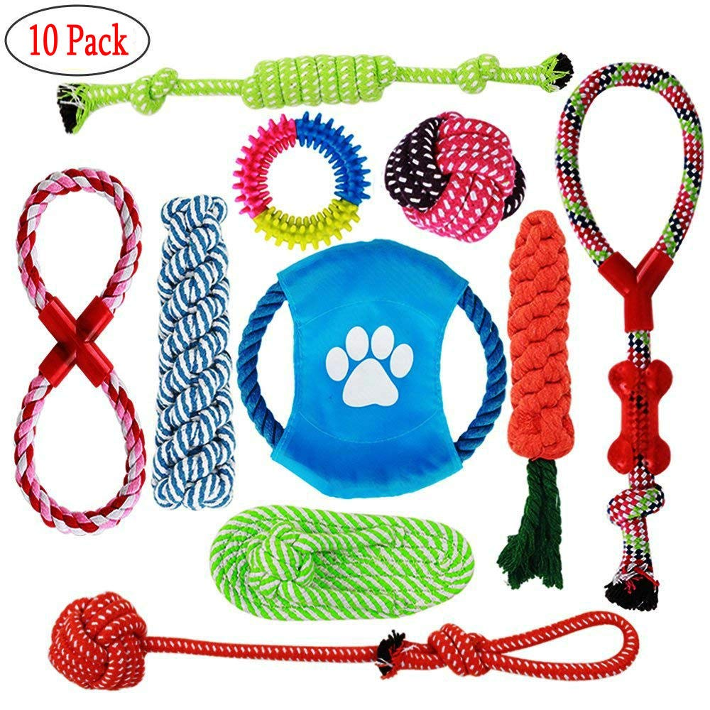CiaraQ Dog Rope Toys, 10 Pack Puppy Chew Toys Set Dog Cotton Rope Knot and Teeth Cleanning for Small Medium Large Breeds - Indoor or Outdoor Play