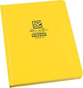 "Rite in the Rain Weatherproof Hard Cover Notebook, 6.75"" x 8.75"", Yellow Cover, Universal Pattern (No. 370F-LG)"