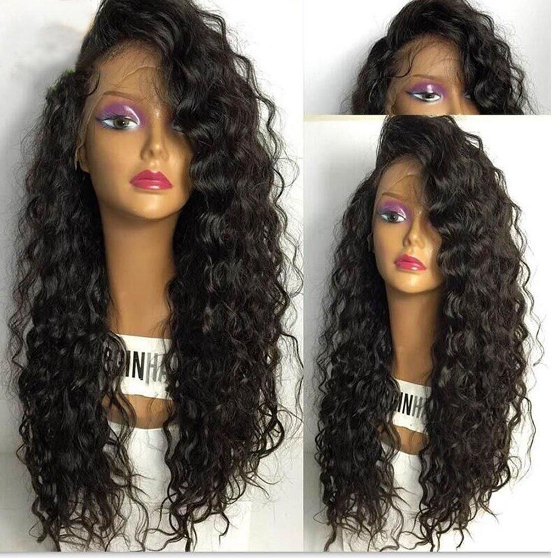 Andria Hair Silk Top Glueless Full Lace Wigs for Black Women Brazilian Virgin Hair Deep Curly Natural Color Human Hair Silk Base Wigs (8 Inch,150 Density): ...