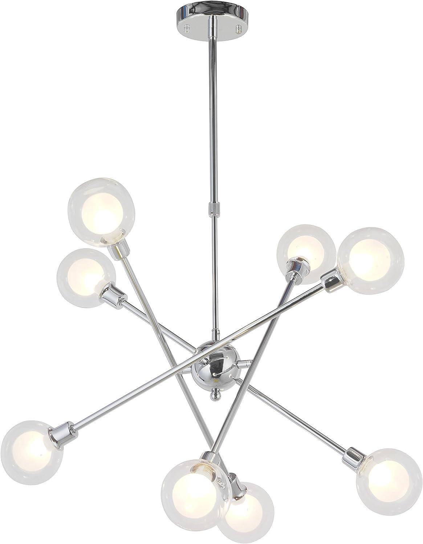 VINLUZ 10 Lights Modern Sputnik Chandelier Brushed Nickel Flush Mount Ceiling Light Contemporary Chandelier for Dining Room Living Room Kitchen