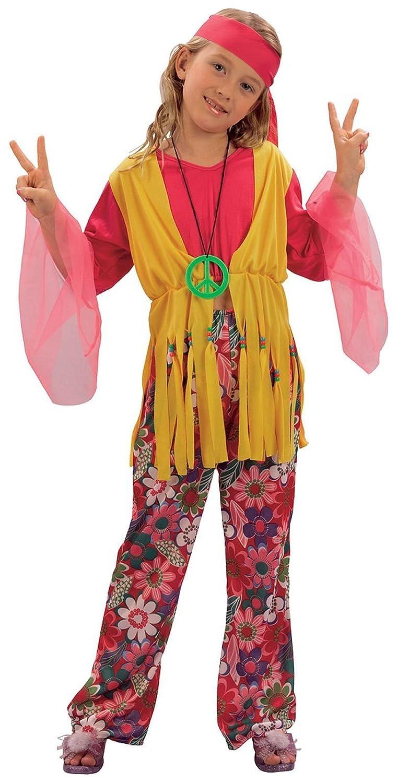 e57cdfef741e Childrens Hippy Girl Fancy Dress Costume 60u0027S 70u0027S Flower Power  Outfit 7-10 Yrs Amazon.co.uk Clothing Sc 1 St Amazon UK